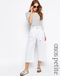 Льняные юбка-брюки с завязкой на талии ASOS PETITE - Белый