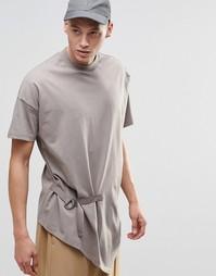 Длинная футболка с драпировкой ASOS - Бежевый