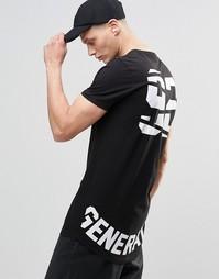 Супердлинная футболка с закругленным низом и принтом Generation 92 сза Asos