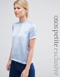 Атласная футболка с трикотажной спинкой ASOS PETITE - Синий