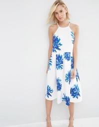 Пышное платье миди с ярким цветочным принтом ASOS - Мульти