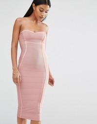 Эксклюзивное бандажное платье‑бандо миди Boohoo - Роза