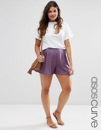 Трикотажная юбка‑шорты с плиточным принтом и складками ASOS CURVE