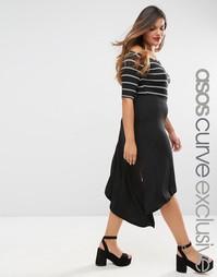 Креповая юбка миди асимметричной длины ASOS CURVE - Черный