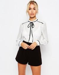 Полупрозрачная блузка с контрастной завязкой Fashion Union - Кремовый