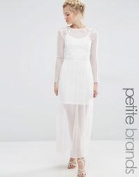 Платье макси из прозрачного кружева Vero Moda Petite - Снежно-белый