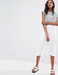 Расклешенная юбка миди с кнопками ASOS - Белый