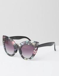 Солнцезащитные oversize-очки в кошачьей оправе с цветочным принтом Jee Jeepers Peepers