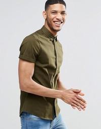 Саржевая рубашка цвета хаки зауженного кроя с короткими рукавами ASOS
