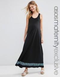 Платье макси для беременных с вышивкой по краю ASOS Maternity - Черный