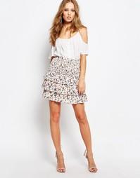 Многослойная юбка с цветочным принтом Y.A.S - Белый