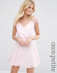 Кружевное платье мини ASOS PETITE Kate - Телесный