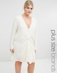 Oversize-платье с узелком Missguided Plus - Кремовый