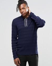 Вязаная футболка‑поло с длинными рукавами ADPT - Темно-синий