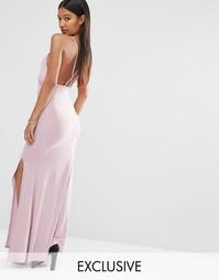 Платье макси с запахом и перекрестной спинкой Club L
