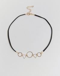 Ожерелье-чокер с геометрическими подвесками Reclaimed Vintage - Черный