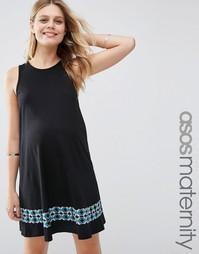 Свободное платье для беременных с вышитой полосой ASOS Maternity