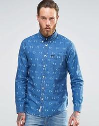 Джинсовая рубашка на пуговицах с принтом в ромбик Lee - Snorkel blue