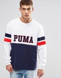 Свитшот в винтажном стиле с круглым вырезом Puma - Белый