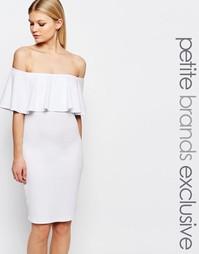 Облегающее платье с оборкой John Zack Petite - Белый