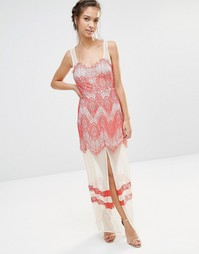 Платье макси со вставками из кружева и сетки Boohoo - Слоновая кость