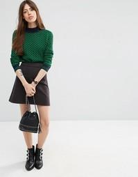 Короткая юбка-трапеция серого цвета ASOS - Серый