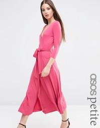 Платье макси из крепа с запахом и завязывающимся поясом ASOS PETITE