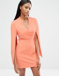 Платье мини с запахом и разрезами на рукавах Lavish Alice - Коралловый