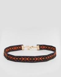 Ожерелье-чокер с ацтекским узором Reclaimed Vintage - Мульти