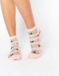 Носки с цветочным принтом и прозрачной отделкой 7X - Розовый