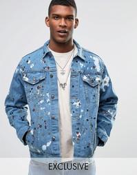 Джинсовая оversize‑куртка с брызгами краски Reclaimed Vintage - Синий