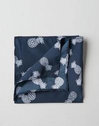 Платок для пиджака с принтом ананасов ASOS - Темно-синий