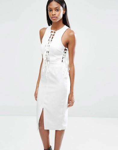 Платье миди с глубоким вырезом и завязками Lavish Alice - Бежевый