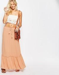 Ярусная юбка макси макси Vila - Розовый/песочный