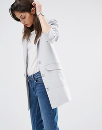 Пиджак бойфренда кроя слим ASOS - Серебристо-серый