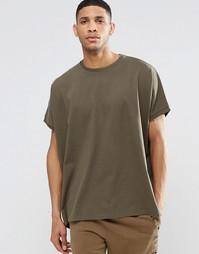 Oversize-футболка из плотного трикотажа цвета хаки ASOS