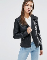 Байкерская куртка из полиуретана JDY - Черный