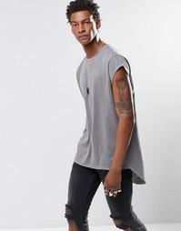 Супердлинная футболка с короткими рукавами и закругленным низом сзади Asos