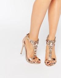 Декорированные сандалии на каблуке ASOS HEIGHTEN - Телесный металлик