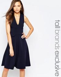 Короткое приталенное платье с карманами Alter Tall - Темно-синий