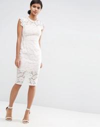 Кружевное платье-футляр с контрастной подкладкой ASOS - Кремовый