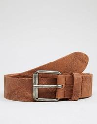 Кожаный ремень с винтажной отделкой ASOS - Коричневый