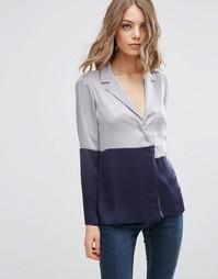 Пижамная блузка из атласа в стиле колор блок ASOS - Серый