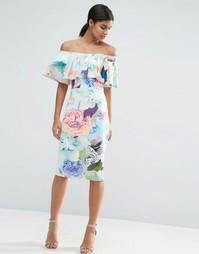 Платье-бандо миди с цветочным принтом и рюшами ASOS - Принт