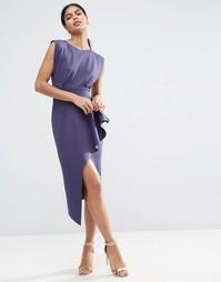 Платье миди на молнии с вырезами по бокам и баской ASOS - Темно-синий