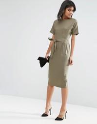 Льняное облегающее платье на поясе ASOS - Хаки