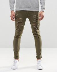 Светло-зеленые супероблегающие джинсы скинни с рваной отделкой ASOS