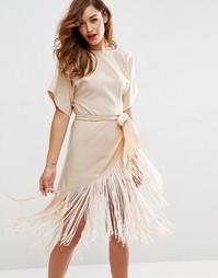 Платье-футболка миди с бахромой ASOS - Телесный