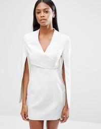 Платье мини с запахом и разрезами на рукавах Lavish Alice - Бежевый