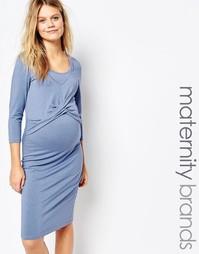 Присборенное спереди платье для кормящих мам Mamalicious - Синий Mama.Licious